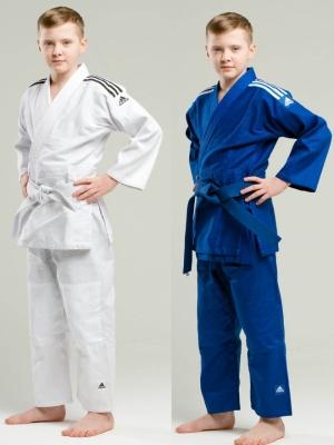 кимоно дзюдо adidas club белое синее