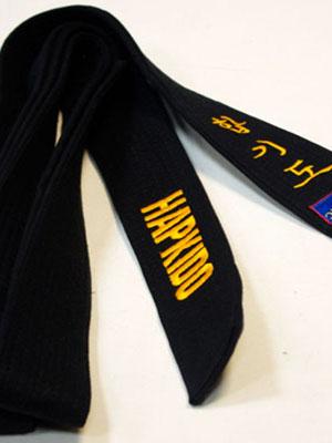 Пояс черный для Хапкидо с вышивкой